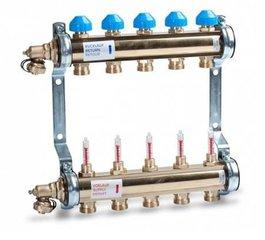 Vloerverwarming verdeler zonder pomp STAAL/RVS/Messing