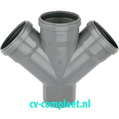 PVC Dubbel T Stuk 3 x manchet/Spie