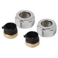 Thermrad adapter voor onderblok M24 x 15 mm (set á 2 stuks) kleur chroom