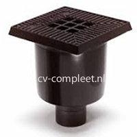 Schrobput 200 x 200 met GY (gietijzer rooster en rand) verstelbaar, met onder uitlaat 75 mm