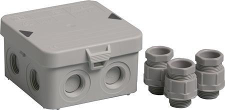 Attema AK1- IP65 2280 Kabeldoos 7 invoeren IP55 - 95 x 95 x 45 mm + 3 wartels