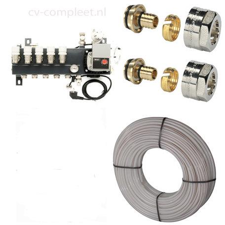 Set vloerverwarming 24 tot 35 M2 - 3 groepen met Compact verdeler, 3 rollen vloerverwarmingsbuis