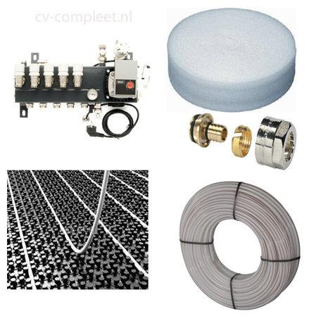 Set vloerverwarming tot 67 M2 - Compact verdeler 6 groepen - compleet geleverd met noppenplaat