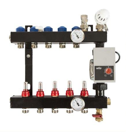 VTE In-Line vloerverwarming verdeler 5 groepen met flowmeters, inclusief adapters 16 mm
