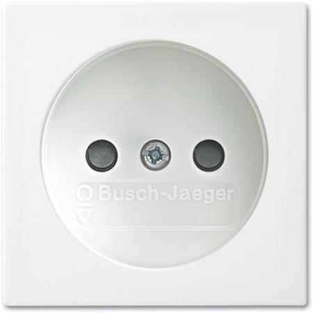 Busch-Jaeger Balance SI- WCD enkel zonder aarde met kinderbeveiliging- centraal plaat - r-alpin wit