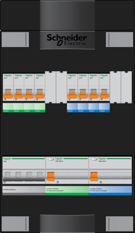 Schneider groepenkast - 3 fase, hoofdschak 40A - 8 groepen achter 2 x aardlekschak. - ADVG44444H3