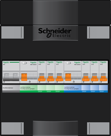 Schneider groepenkast - 1 fase, hoofdschak 40A - 6 groepen achter 2 x aardlekschak. - ADV23234H1