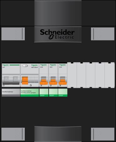 Schneider groepenkast - 1 fase, hoofdschak 40A - 3 groepen achter 1 x aardlekschak. - ADV23004H1