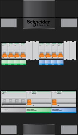 Schneider groepenkast - 3 fase, hoofdschak 40A - 6 groepen achter 2 x aardlekschak. - ADVG43434H3