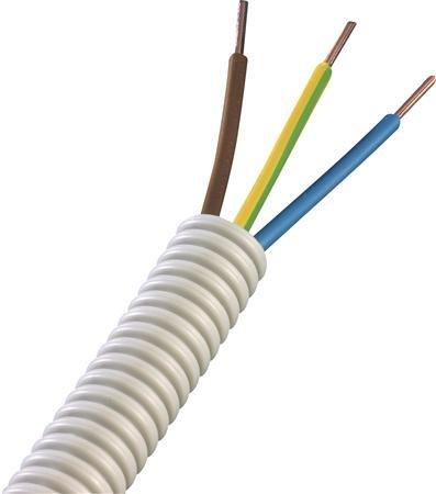 Flex buis 16 mm bedraad 3 x 2,5 mm² + 2 x 1,5 mm² -  bruin, blauw, geel/groen, zwart - rol á 100 meter