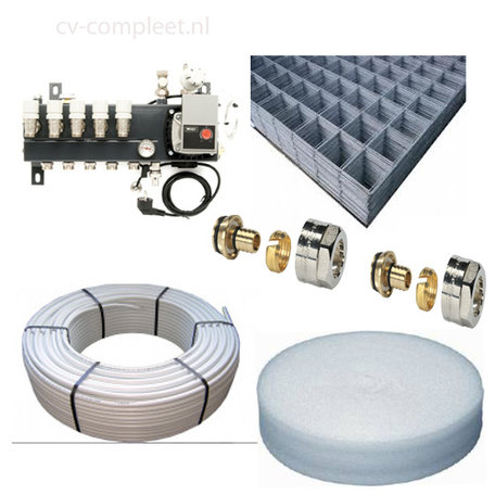 Set Vloerverwarming 8 groepen - 95 M2 als hoofdverwarming compleet geleverd met draagmatten