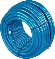 Uponor Uni pipe PLUS 20 x 2,25 mm in blauwe isolatie mantel 4 mm lengte rol á 100 meter