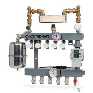 CV-Compleet model De Luxe vloerverwarming verdeler 13 groepen met gescheiden systeem met A-Label pomp