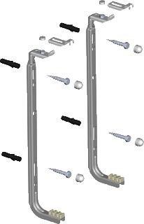 Wandbeugels set á 2 stuks voor rad 500 hoog inclusief bouten en pluggen