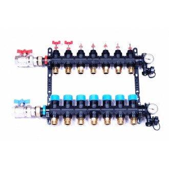 Top-Flow kunststof vloerverwarming verdeler 7 groepen zonder pomp (Model industrie)