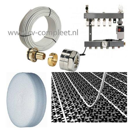 Set vloerverwarming voor 67 M2 - 6 groepen - compleet geleverd met noppenplaat