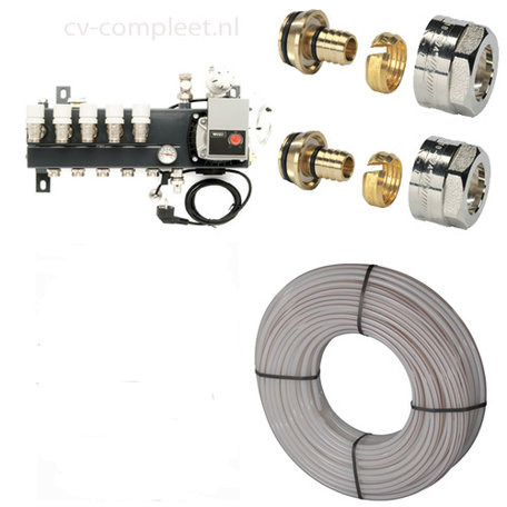 Vloerverwarming set 108 tot 120 M2 - 10 groepen met Compact verdeler, vloerverwarmingsbuis