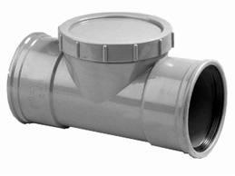 PVC Ontstoppingstuk met schroefdeksel - 125 mm 2 x mof manchet verbinding
