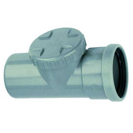 PVC Ontstoppingsstuk met schroefdeksel - manchet verbinding 125 mm 1 x mof/ spie