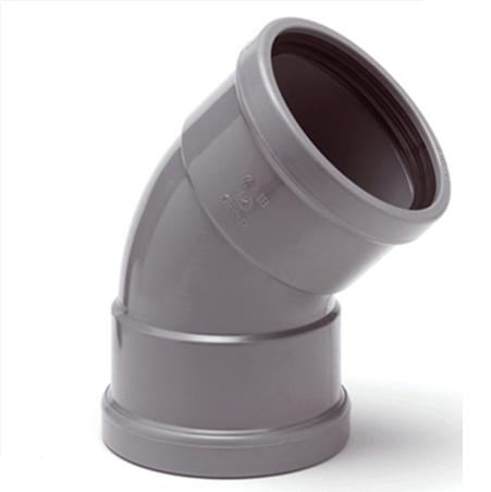 PVC bocht 250 mm kort 45¡ manchet 2 x mof