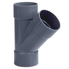 PVC T stuk 45° - 3 x lijm mof 75 mm
