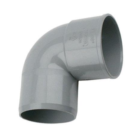 Pvc bocht 75 mm 90° - 1 x lijm mof x 1 spie