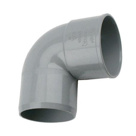 Pvc bocht 125 mm 90° - 1 x lijm mof x 1 spie