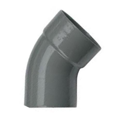 Pvc bocht 75 mm 45° - 1 x lijm mof x 1 spie