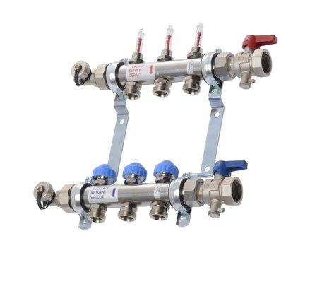 VTE - RVS vloerverwarming verdeler 3 groepen