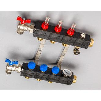 Top-Flow kunststof verdeler PRO 3 groepen inclusief adapters 16 mm