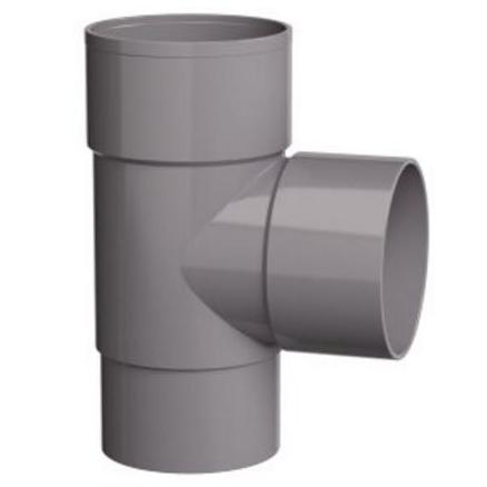 PVC Hemelwaterafvoer T stuk 100 mm 90 GR mof/spie verjongd (spie past in buis)