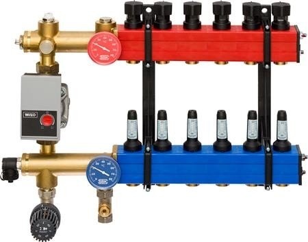 Nathan SBK 4800 - 15 groepen vloerverwarming verdeler met debietmeters, kunststof met energiezuinige pomp