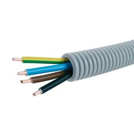 Voorbedrade Flexbuis 16 mm  3 x 2,5 + 1 x 1,5 mm² -  bruin - blauw - geel/groen  en zwart - rol á 100 meter