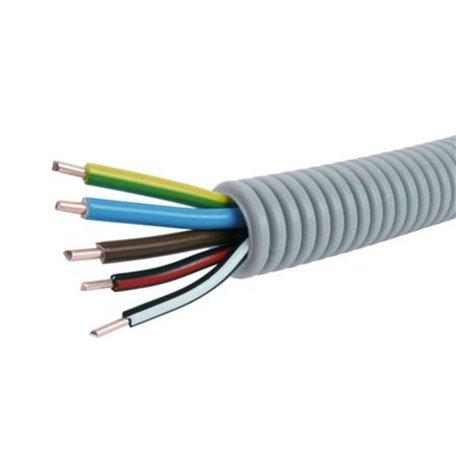 Voorbedrade Flexbuis 16 mm  3 x 2,5 + 2 x 1,5 mm² -  bruin - blauw - geel/groen  en  1 x zwart  - 1 x zwart/wit- rol á 100 meter