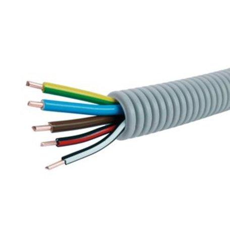 Voorbedrade Flexbuis 16 mm  3 x 2,5 + 2 x 1,5 mm² -  bruin - blauw - geel/groen  en  1 x zwart/rood  - 1 x zwart/wit- rol á 100 meter