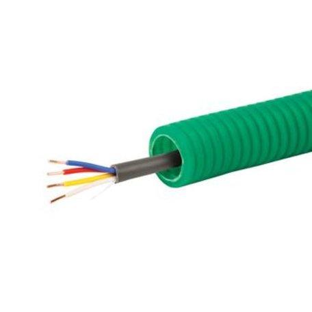 Voorbedrade Flexbuis 16 mm grijs - bedraad 4 x 0,8 mm²  bel kabel - rol á 100 meter