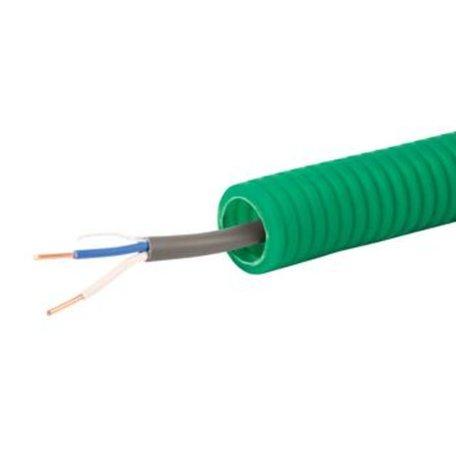 Voorbedrade Flexbuis 16 mm grijs - bedraad 2 x 0,8 mm²  bel kabel - rol á 100 meter