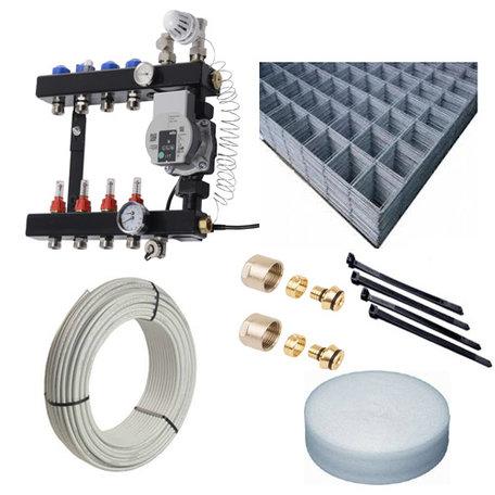 Vloerverwarming set - VTE InLine verdeler 7 groepen  70 - 82 M2 - Compleet geleverd met draagmatten