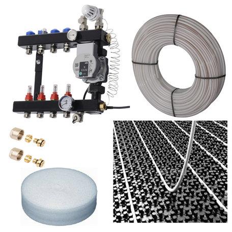 Vloerverwarming set voor 58 - 70 M2 - VTE InLine verdeler 6 groepen - compleet geleverd met noppenplaat