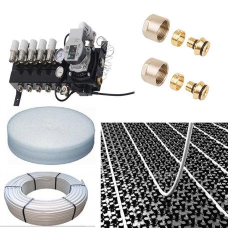 Vloerverwarming set voor 23 - 35 M2 - Compact verdeler 3 groepen - compleet geleverd met noppenplaat