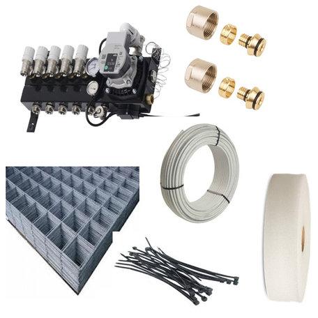 Vloerverwarming set 6 groepen - 58 - 70 M2 als hoofdverwarming compleet geleverd met draagmatten