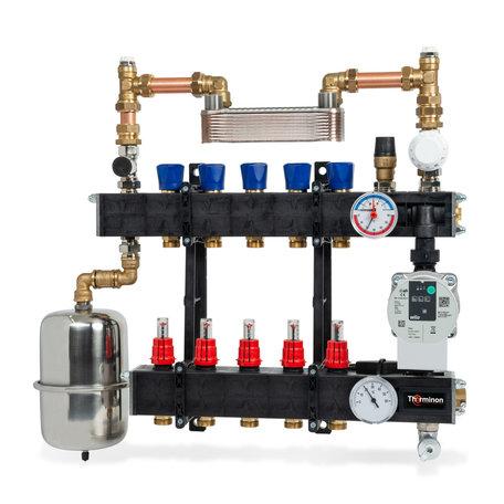 Therminon LTV composiet vloerverwarming verdeler 5 groepen met gescheiden systeem met A-Label pomp