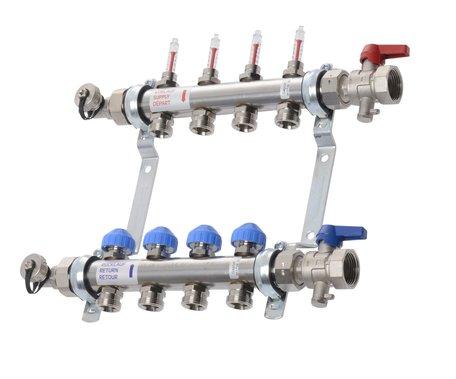 VTE - RVS vloerverwarming verdeler 5 groepen