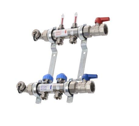 VTE - RVS vloerverwarming verdeler 2 groepen