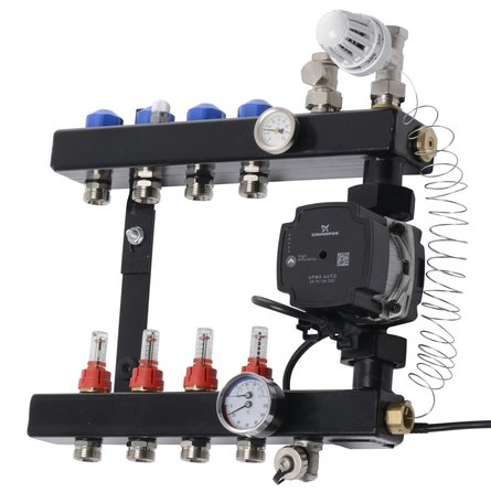 VTE In-Line vloerverwarming verdeler 4 groepen met flowmeters, Energiezuinige pomp