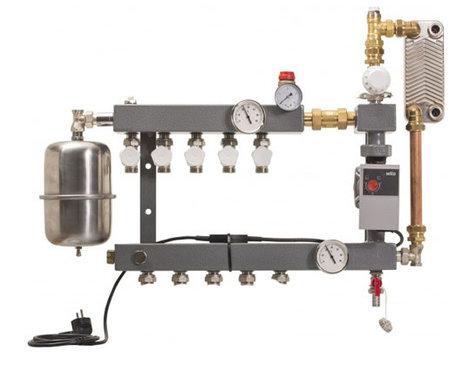 CV-Compleet model De Luxe 5 groepen  vloerverwarming verdeler met gescheiden systeem met A-Label pomp