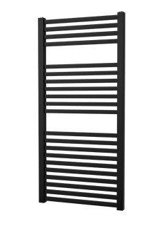 Plieger Palmyra design handdoek radiator 1175 x 600 kleur zwart (689 watt) gebogen