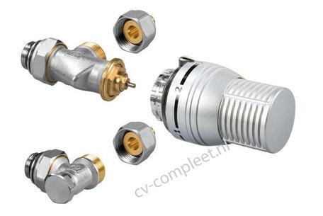 Jaga ventiel en retour ventiel M24 inclusief thermostaatknop kleur Zilver en klemkoppelingen