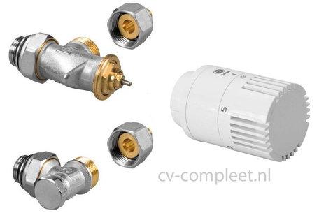 Jaga ventiel en retour ventiel M24 inclusief thermostaatknop kleur Wit en klemkoppelingen