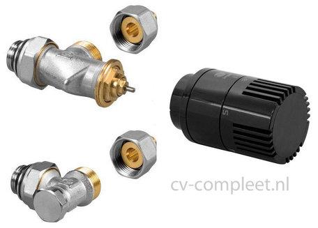Jaga ventiel en retour ventiel M24 inclusief thermostaatknop kleur Zwart en klemkoppelingen
